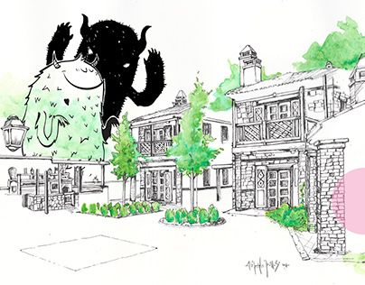 """Check out new work on my @Behance portfolio: """"travel blog,day 12"""" http://be.net/gallery/63152453/travel-blogday-12 #architecture#drawing#art#illustration#monster#horror#travel#greece#athens#holidays"""