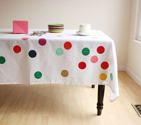 Polka Dot Party DIY Confetti Tablecloth Via Oh Happy Day