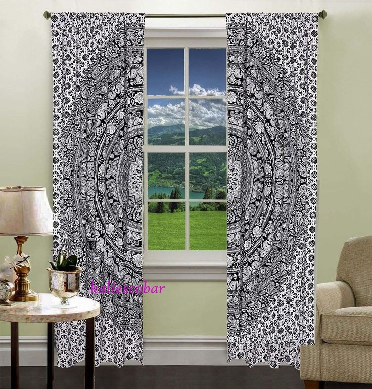 tapestry window mandala and curtains drapes shower mandalatapestry black indian white curtain cottoncurtains index