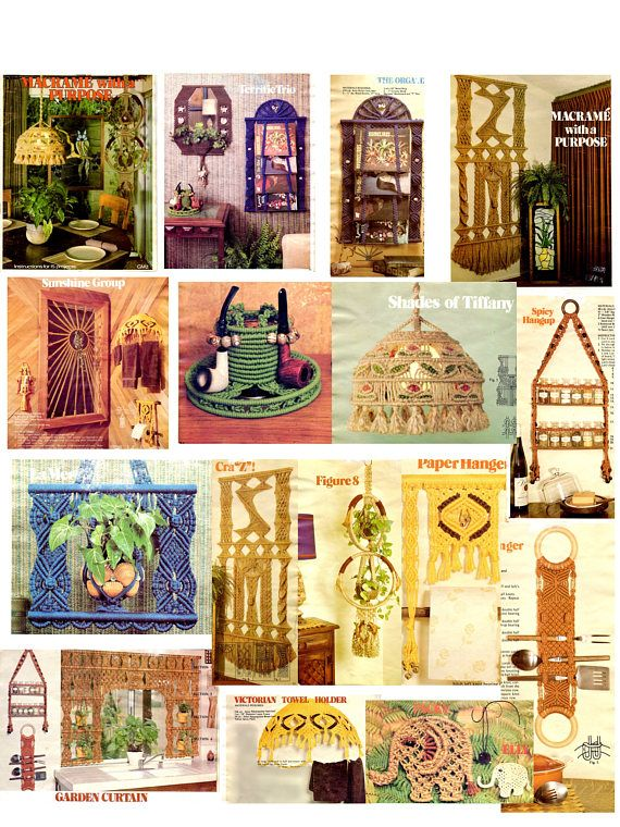 Reprint vintage Macrame with a Purpose in PDF instant download version , ebook vintage  Macrame patterns instructions are in English Language Instructions for 15 Projects :  - Sunshine Group = window decor - Dyname Duet = hanger - Paper Hanger - Victorian Towel Holder - Garden Curtain - Spicy Hangerup - Ring A Ding Hanger - La Mer = plant hanger - The Organizer - Reflections = mirror decor - Emerald Isle = organizer - Packy = decor - Elly = decor - Figure 8 ...