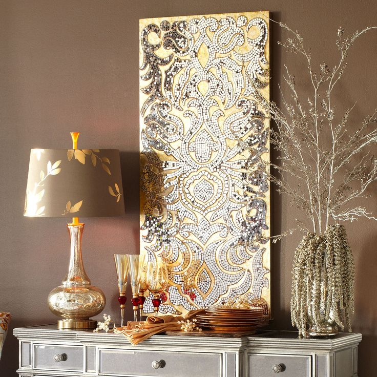 Round Wood Mirror Champagne Mirrored Mosaic Damask Wall Panel | Color