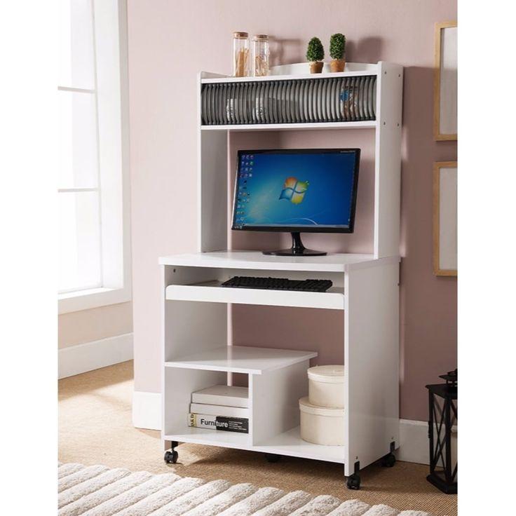 Benzara Well Designed Computer Cart With Efficient Storage, White, Size Medium