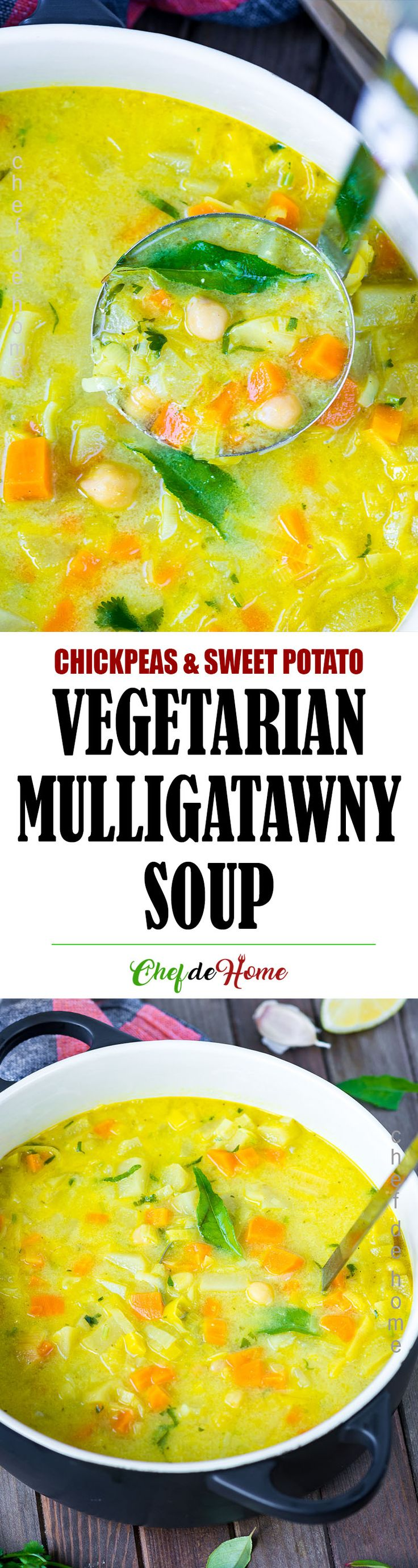 Vegetarian Mulligatawny Soup - Healthy and nourishing Sweet Potato, Lentils, and Chickpeas Mulligatawny Curry Soup!