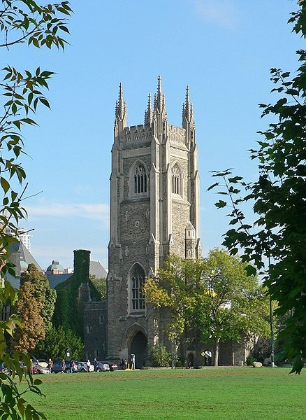 Soldiers Tower at the University of Toronto, Ontario - a caretaker fell to his death here in the 1930's while cleaning the bells within the tower - people have reported seeing visions of him falling from the top of the tower ever since, a presence has been felt at the top of the tower