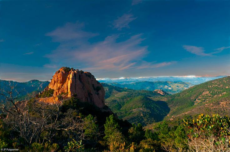 Massif de l'Esterel Red rock mountains on the Cote D'Azure. Hiking, biking, sea kayaking, food, wine...