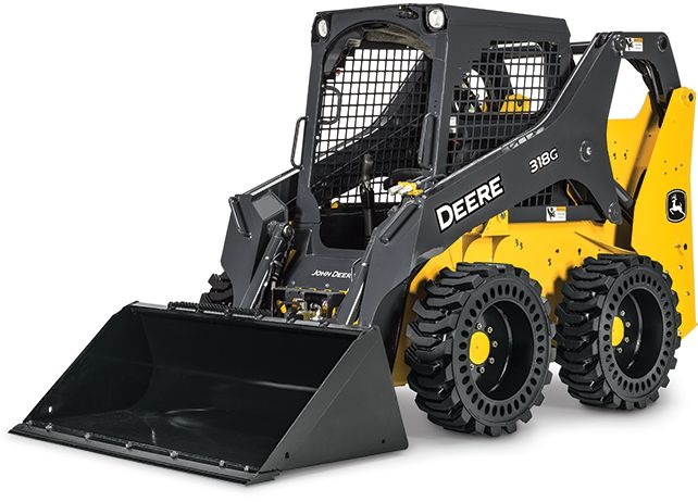Studio view of a John Deere 318G Skid Steer