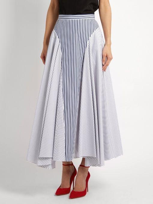 Adam Lippes Handkerchief-hem striped cotton skirt