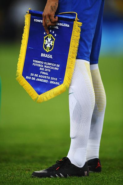 Neymar of Brazil lines up for his national anthem before the Men's Football…