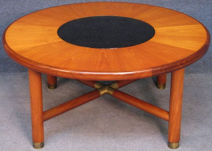 E Gomme G Plan Teak Retro Circular Coffee Table With Smoked Glass Centre CoffeeTable