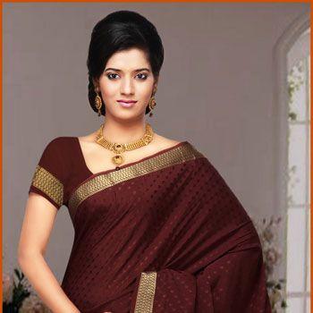 Brown Pure Mysore Silk Saree with Blouse
