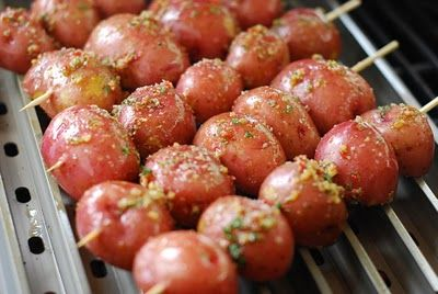 Grilled Potatoes - I love the Kabob idea! Keeps the potatoes from ...