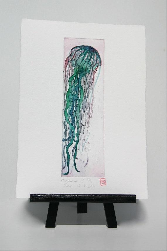 Medusa /  Jellyfish  Original Etching by freshandsilly on Etsy, $30.00
