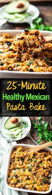 Easy, Fast Healthy Mexican Pasta Bake. All the bold flavors without the extra calories. #mexican #pasta #casserole