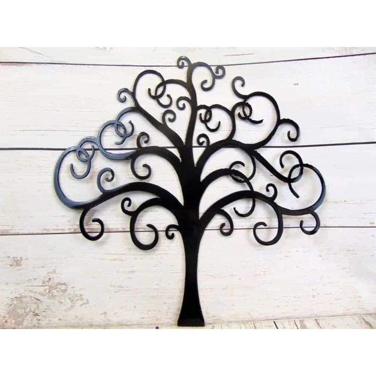 Curly Tree Of Life With Birds Metal Wall Art