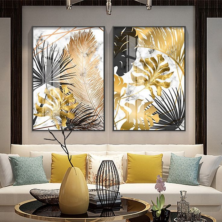 Plants Golden Leaf Canvas Painting Posters Site Today Living Room Pictures Tropical Wall Art Decor