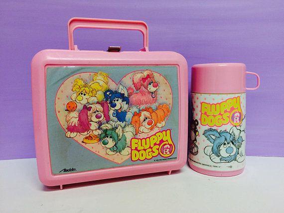 Fluppy Dogs Lunchbox, Fluppy Dog Thermos, Vintage Lunchbox, Aladdin Lunchbox, Aladdin Thermos, Walt Disney, 1980s Fluppy Dogs, 1980s Toys