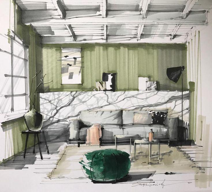 "1,213 Likes, 10 Comments - Interiors/Sketches (@tihomirov_sketch) on Instagram: ""Interior sketching #sketchbook #art #designbook #sketching #arq #arqsketch #interiorsketch…"""