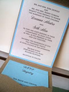 inside pocket kraft baby blue wedding invitation With wedding invitations with inside pocket