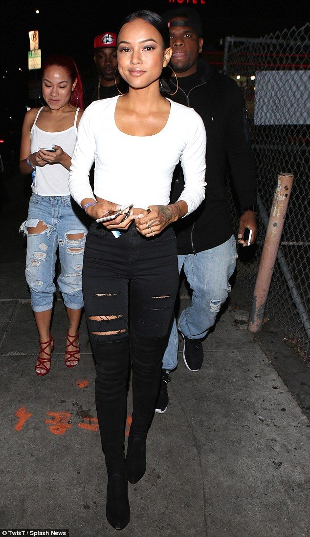 Out and about: Karrueche Tran arrives to host a night at Supperclub on Friday