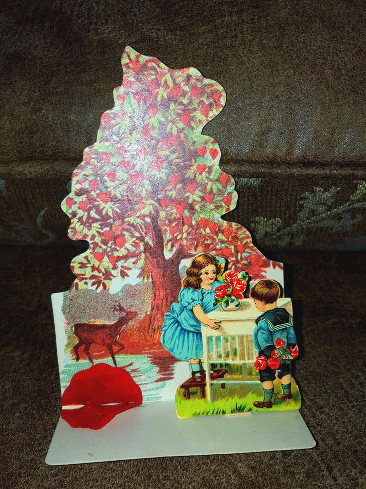 old valentine card 3D layered beautiful tree of love