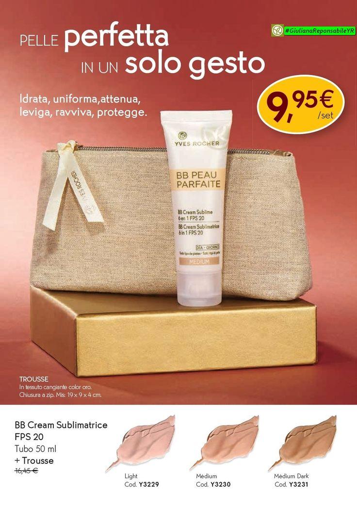 💚#CreamSublimatrice fps20 💚Un solo gesto per una pelle perfetta! La BB Cream Sublimatrice 6 in 1: Idrata per 24 ore; Uniforma il colorito; Attenua le imperfezioni e i segni di stanchezza; Leviga la grana della pelle; Ravviva la luminosità; Protegge dai raggi UVA/UVB grazie al FPS 20. 🎁 In REGALO 🎁 #Trousse Cangiante color oro. #YvesRocherItalia #GiulianaResponsabileYR