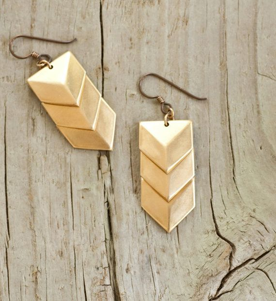 Brass Triple Shield EarringsBrass Shields, Arrows Earrings, Geometric Brass, Bridesmaid Gifts, Brass Earrings, Shields Earrings, Etsy Geometric, Jewelry Geometric, Gold Chevron