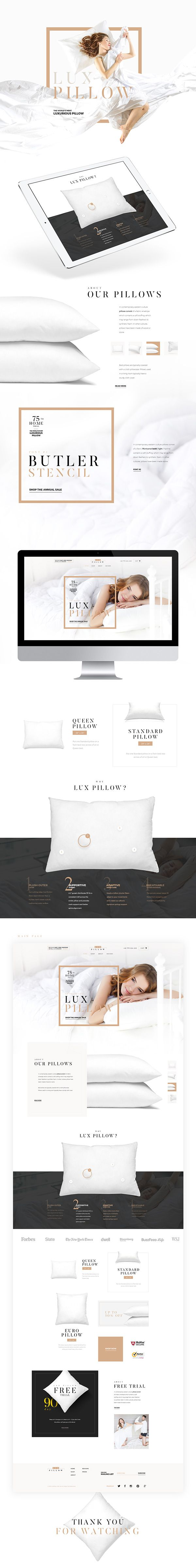 Web design. Modern website. Luxury pillow online shop. Design for sale.