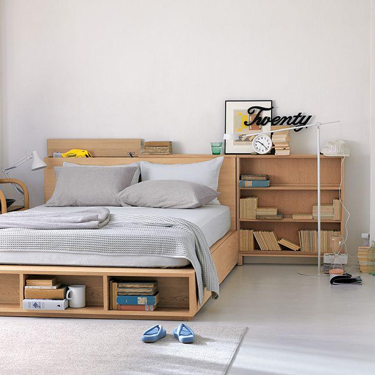 Cama de roble doble con almacenaje tienda online ideas for Camas con almacenaje