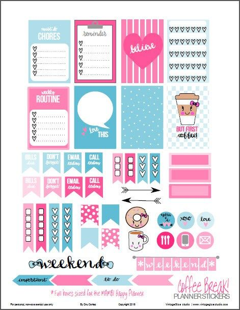 FREE printable Coffee Break Planner Stickers |for personal use - Full Boxes sized for MAMBI Happy Planner