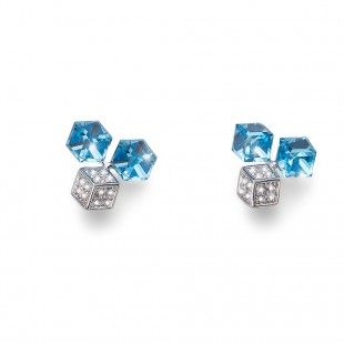 Oliver Weber Women light blue aqua quad earrings with Swarovski Crystals