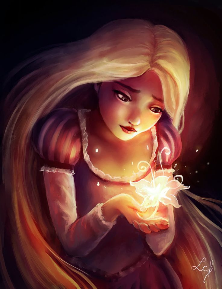 Rapunzel and Gleam and Glow Flower by Ludmila-Cera-Foce