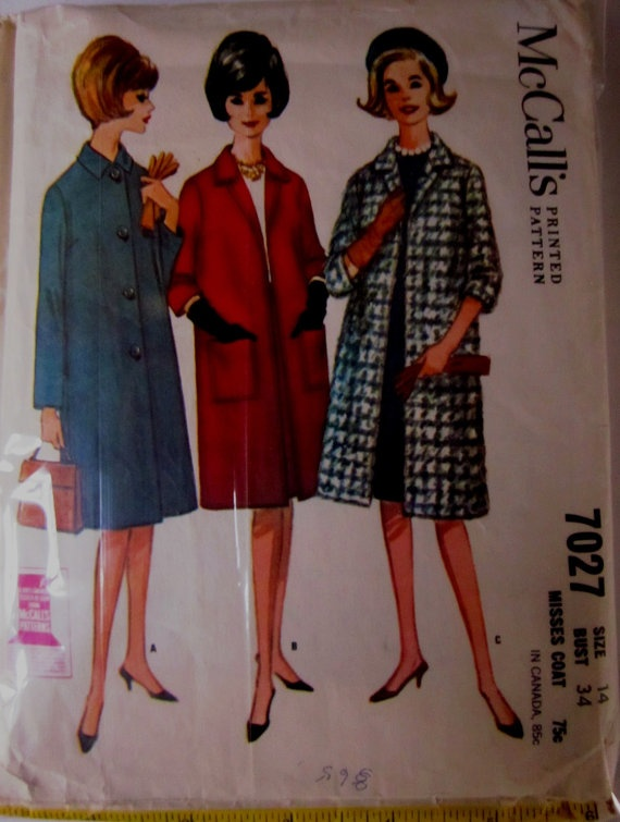 Vintage 1960s McCalls 7027 Misses Coat Pattern by Denisecraft, $8.99