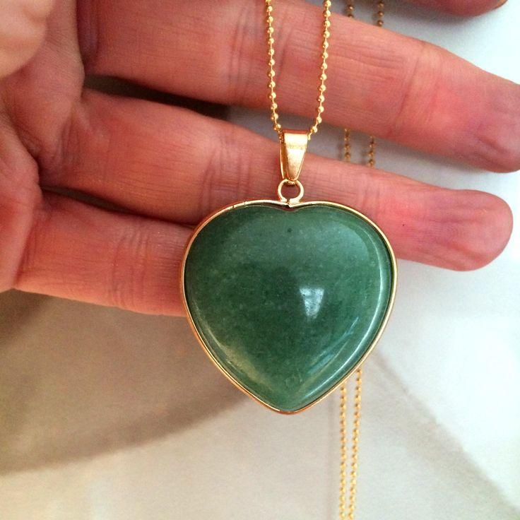 "18K Gold Fill Green Aventurine pendant necklace 28"" - Lucky stone jewellery - heart chakra jewelry gift"