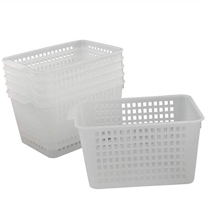 Amazon Com Qsbon Clear Plastic Storage Bins Basket Organizer For