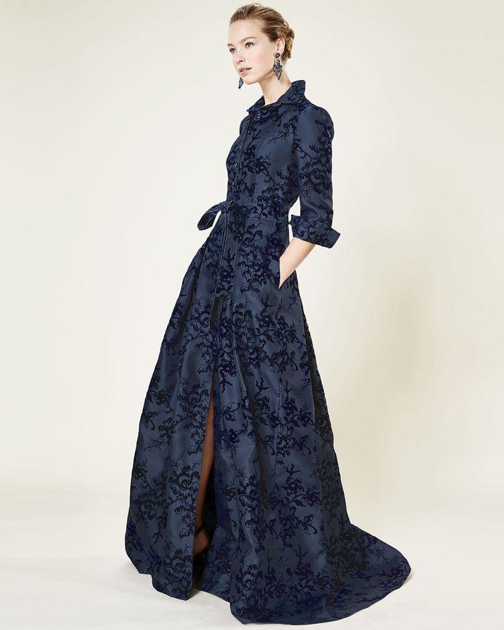 Carolina Herrera Floral-Embellished Trenchcoat Gown, Navy Slate
