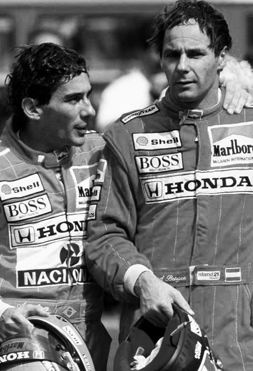 """""""When me and Reginaldo arrived at the hospital Gerhard Berger was there. He looked at us and motioned with his hands, we knew what that meant. Minutes later Sid came to us and said """"Ayrton's heart is still beating, you guys are his friends, you guys have the right to enter there and see him for the last time … I would not advise"""" And then the one that entered was Gerhard Berger, and even today he didn't tell anyone what he saw in that hospital room."""" - Galvão Bueno"""