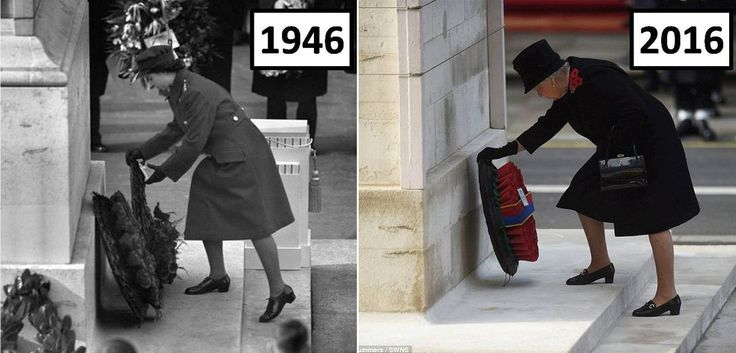 Happy and Glorious (@HappynGlorious) on Twitter:  70 years of Remembrance Sundays- Princess Elizabeth in 1947 and Queen Elizabeth in 2016