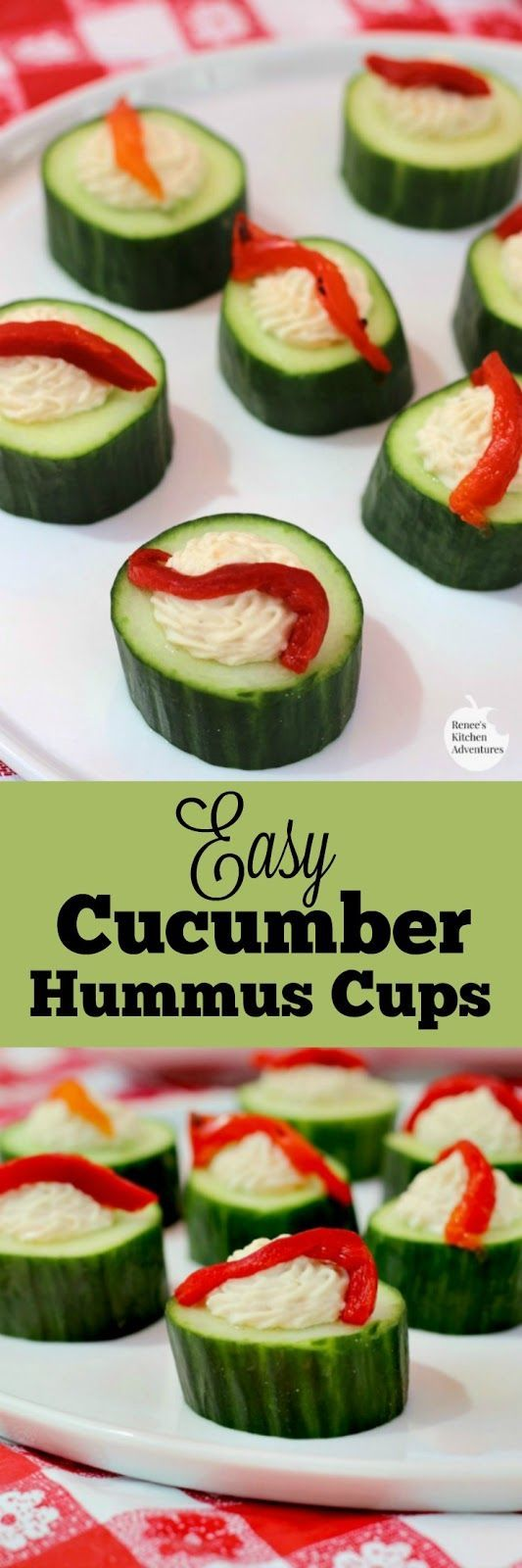 Easy Cucumber Hummus Cups | by Renee's Kitchen Adventures - quick, easy, healthy recipe for no-bake appetizer or snack. Vegan, Vegetarian: