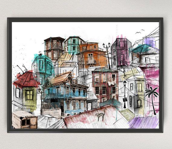 Valparaiso chile art print painting  sudamerica art print