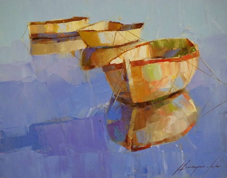 "Saatchi Art Artist Vahe Yeremyan; Painting, ""Rowboats, Oil painting by palette knife, One of a kind"" #art"