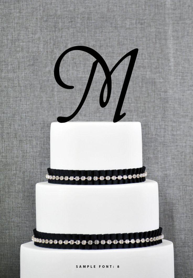 Letter m initial cake topper monogram wedding cake topper