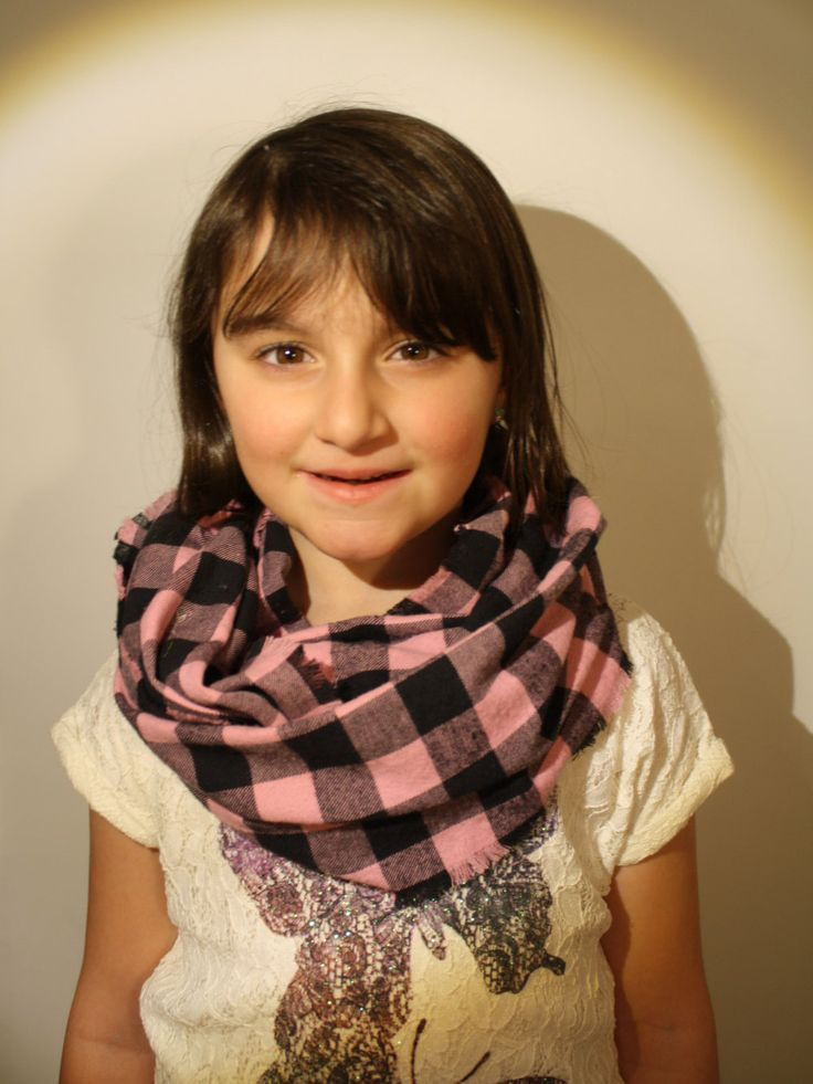 Foulard Infini pour fille, carreaux rose et noir de la boutique AteliersTaffetas sur Etsy
