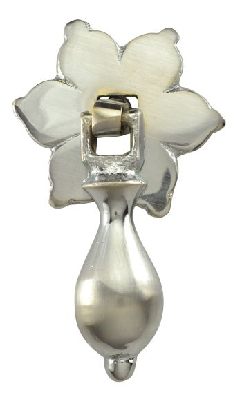 2 34 inch solid brass flower pattern drop pull brushed nickel finish