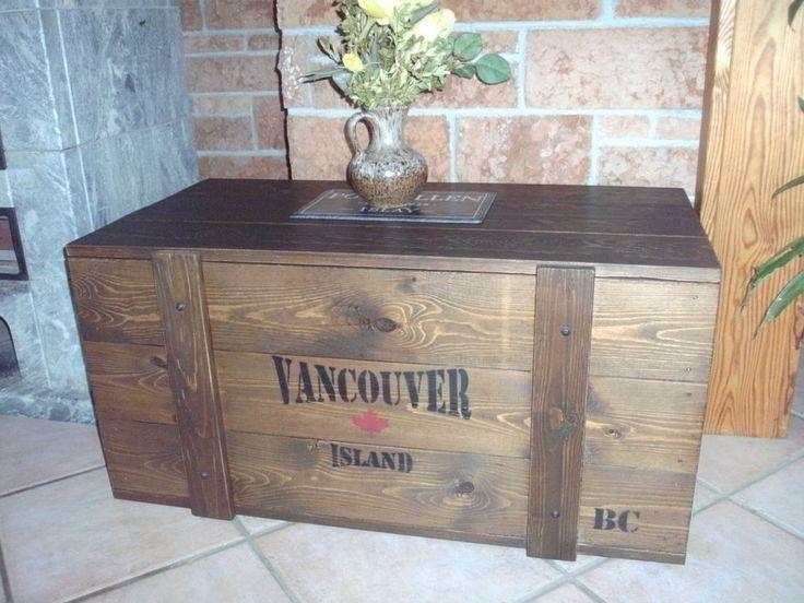 Truhe Frachtkiste Couchtisch Vintage Holz Bank Tisch Shabby Schuhschrank Massiv