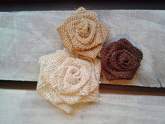 """Set of 5- Burlap Rosettes-2.5"""" Medium- 3 Colors Available- Weddings/ Country/ Folk/ Rustic on Etsy, $5.75"""