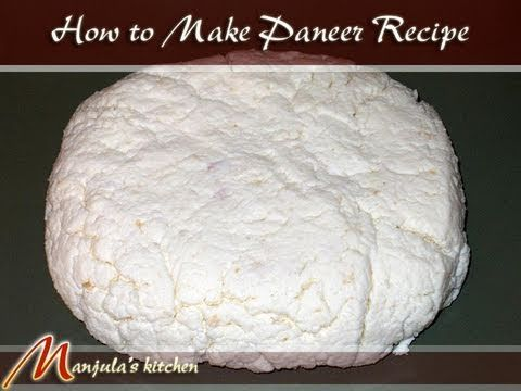 Paneer is a fresh cheese. Manjula shows you how to make it at home. It can be used as a substitute for meat in certain recipes because you can fry it and it will not melt. It is made with milk and lemon juice or vinegar.