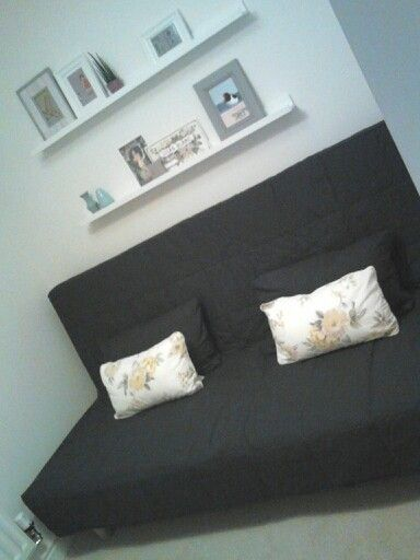 Small guest room, Ikea sofa bed (double) and picture rails