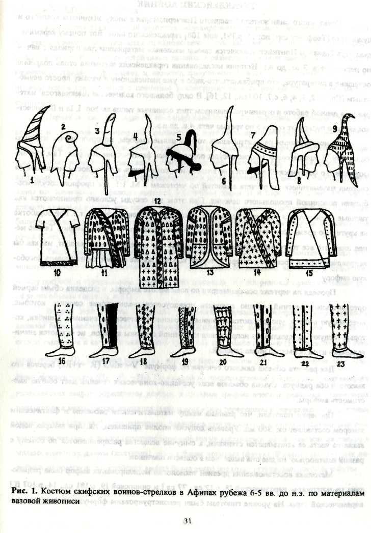 Types of scythian costume depicted on greek vases by S. Yatsenko
