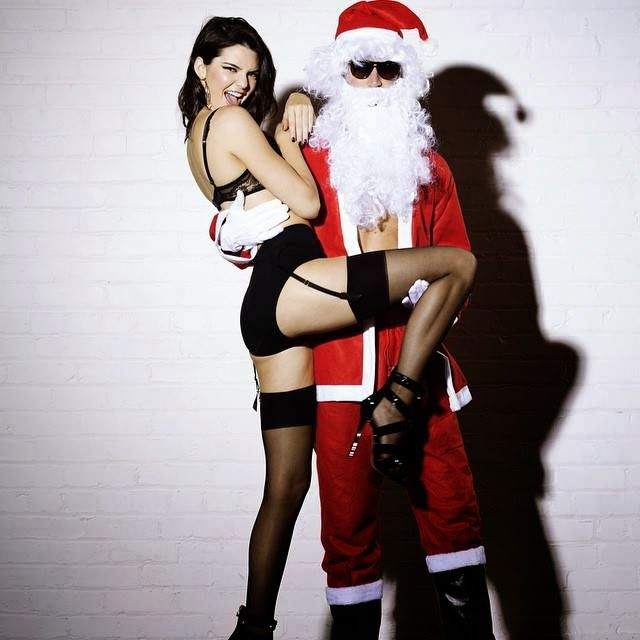 Kendall Jenner poses in black lingerie for Love magazine's advent calendar  shoot. Naughty ChristmasNaughty ...