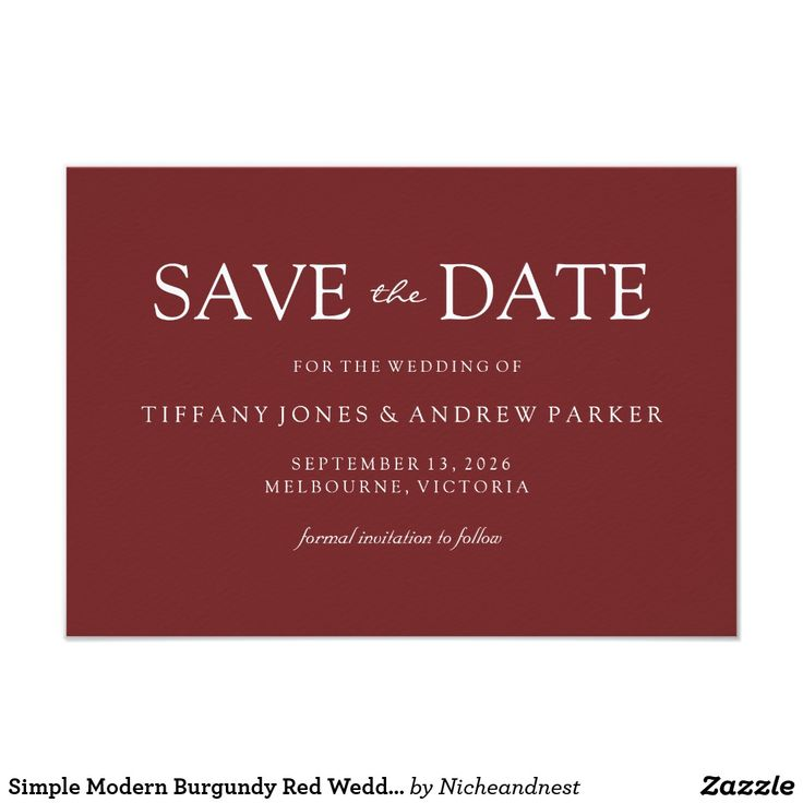 destination wedding save the dates and invitations%0A Simple Modern Burgundy Red Wedding Save the date Card